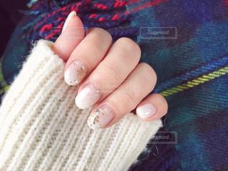 雪の結晶ネイルの写真・画像素材[1656636]