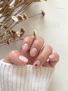 桜の花のレントゲンフラワー×ピンクストーンネイルの写真・画像素材[1803856]