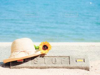 ひまわりと麦わら帽子と海の写真・画像素材[2392548]