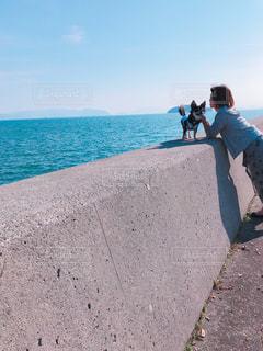 瀬戸内海の海沿いを散歩中の主と愛犬の写真・画像素材[1609071]