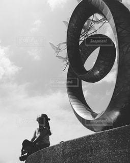 曇り空を歩いて大きな象の写真・画像素材[850711]