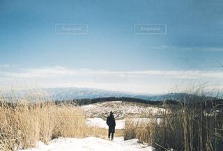 雪に覆われた野原の上に立っている男の写真・画像素材[2095938]