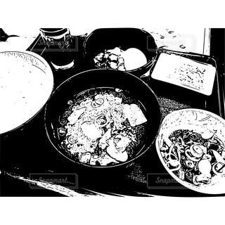 朝食。版画風イラストの写真・画像素材[1067626]