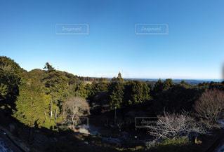 山の中腹に木の滝の写真・画像素材[1711962]