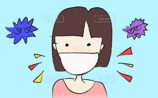 コロナウイルス、風邪、花粉症、アレルギー、感染症予防と対策。マスクをつけた女性のへたくそイラスト。漫画のキャラクターの絵の写真・画像素材[3047248]