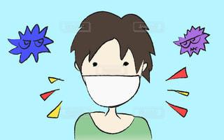 コロナウイルス、風邪、花粉症、アレルギー、感染症予防と対策。マスクをつけた男性のへたくそイラスト。漫画のキャラクターの絵の写真・画像素材[3047257]