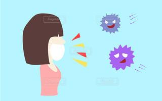 コロナ、風邪、アレルギー、花粉症予防、対策。マスクつけた女性とウィルスのイラストの写真・画像素材[3047249]