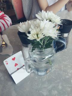 カフェ,インテリア,花,テーブル,トランプ