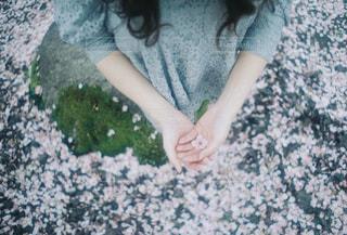 青いシャツの小さな女の子の写真・画像素材[2097549]