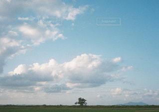 空に雲がある大きな緑の野原の写真・画像素材[2123680]