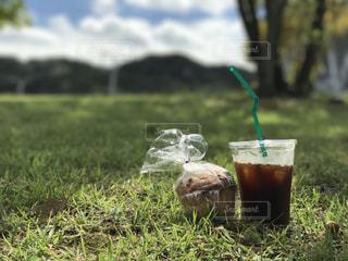 フィールドでドリンクを飲みながらガラスの写真・画像素材[758483]