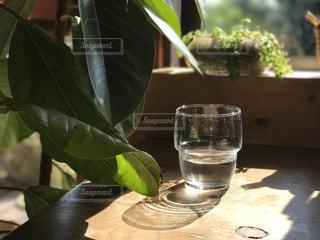 テーブルの上にガラス花瓶の写真・画像素材[895578]