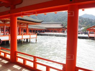 水の体の上の赤い橋の写真・画像素材[891731]