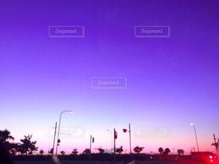 自然,風景,空,公園,紫,夕方,信号,信号機,帰り道