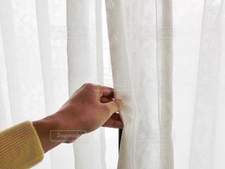 カーテンを開けようとしてる女性の手元の写真・画像素材[734364]