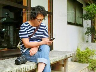 ベンチに座っているの写真・画像素材[761893]