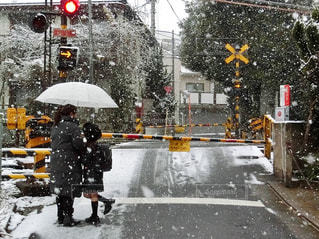 雪の日に傘で雪に覆われた踏切 - No.971363