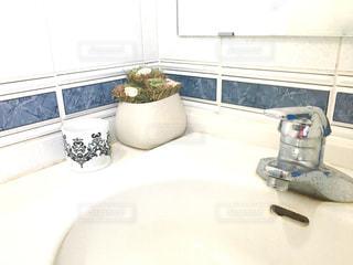 洗面台と鏡付きのバスルームの写真・画像素材[985208]