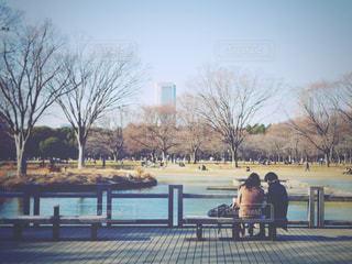 公園のベンチに座っている人々 のグループ - No.1020102