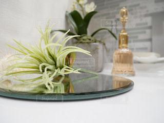 洗面所のテーブル上の花瓶の写真・画像素材[1066519]