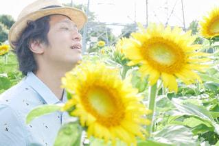 黄色い花の中の人の写真・画像素材[2110312]