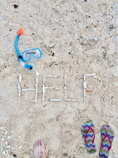砂浜に落書きの写真・画像素材[1325809]
