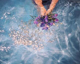 水面に花束の写真・画像素材[254568]