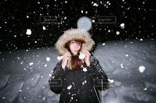 雪の日の夜の写真・画像素材[355123]