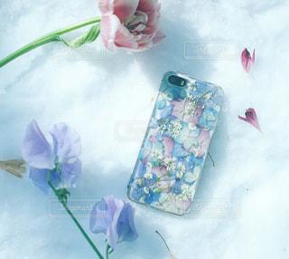 押し花のスマホケースと雪と花の写真・画像素材[991150]
