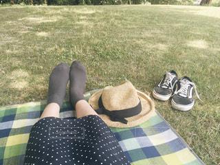 芝生で横になっている人の写真・画像素材[1208777]