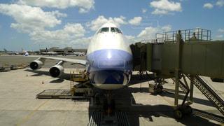 出発を待つ国際線の旅客機の写真・画像素材[356759]