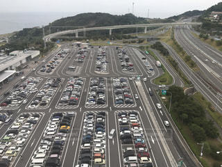 淡路島パーキングエリアの駐車場の写真・画像素材[764928]