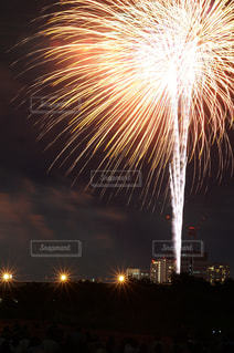 世田谷側の多摩川花火大会の花火の写真・画像素材[889510]