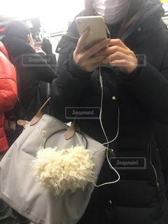 通勤電車でスマホを操作する女性の写真・画像素材[998610]