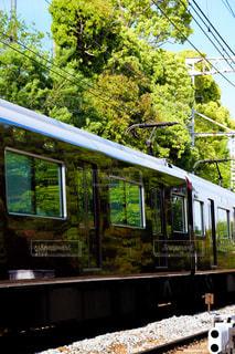 鮮やかな新緑が映える阪急電車の写真・画像素材[1208480]