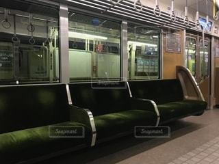 阪急神戸線の電車のアンゴラヤギの綺麗な座席の写真・画像素材[1556863]