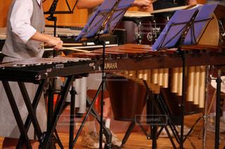 吹奏楽部の音楽発表会で木琴を演奏する女子中学生の写真・画像素材[1576806]