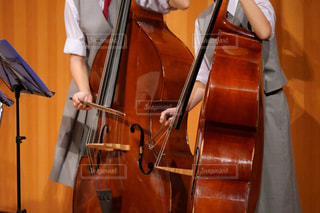 吹奏楽部の音楽発表会でコントラバスを演奏する女子中学生の写真・画像素材[1576807]
