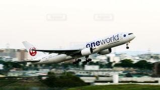 伊丹空港を離陸する日本航空の飛行機の写真・画像素材[1592367]