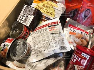 いざというときの緊急防災備蓄品、長期保存食の写真・画像素材[1731929]