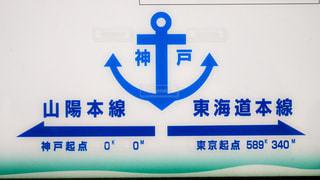 神戸駅にある東海道本線と山陽本線の境目、起点を説明している看板の写真・画像素材[2274141]
