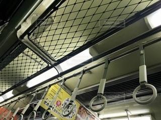 京阪電車の比較的古めな車両の天井、網棚、蛍光灯の写真・画像素材[2607710]
