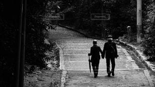 石清水八幡宮の参道を手をつないで仲良く歩く素敵な雰囲気の老夫婦の後ろ姿の写真・画像素材[2693155]
