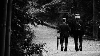 石清水八幡宮の参道を手をつないで仲良く歩く素敵な老夫婦の後ろ姿の写真・画像素材[2693156]