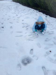 滅多に降らない東京での雪に大喜びの子供の写真・画像素材[2879460]