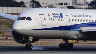 伊丹空港に着陸した全日空機の大型ジェット旅客機の前輪から出る煙の写真・画像素材[2929672]