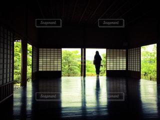 板張りの和風の部屋から新緑の水戸偕楽園の風景を眺める大人の女性の写真・画像素材[2950891]