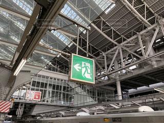 JR大阪駅のプラットホームにある非常口とSOSのサインの写真・画像素材[2988866]