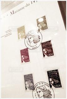 フランス・パリの郵便局で買った記念切手の写真・画像素材[3004550]