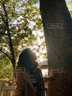 人と木の前に立っている女性の写真・画像素材[1073698]
